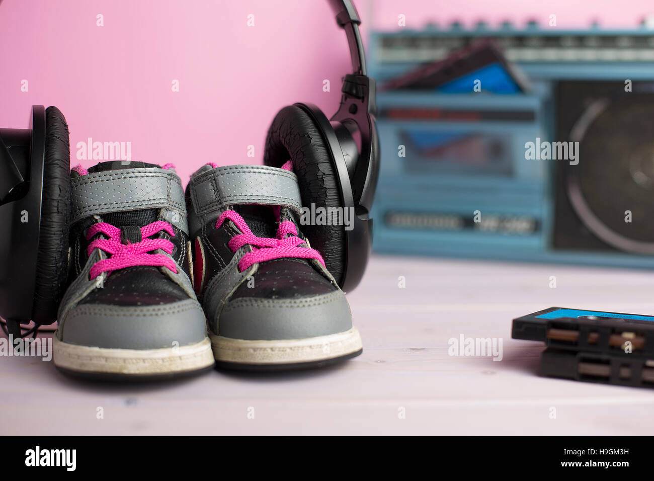 this composition pays homage to the legendary 80s through some typical of that era objects - Stock Image