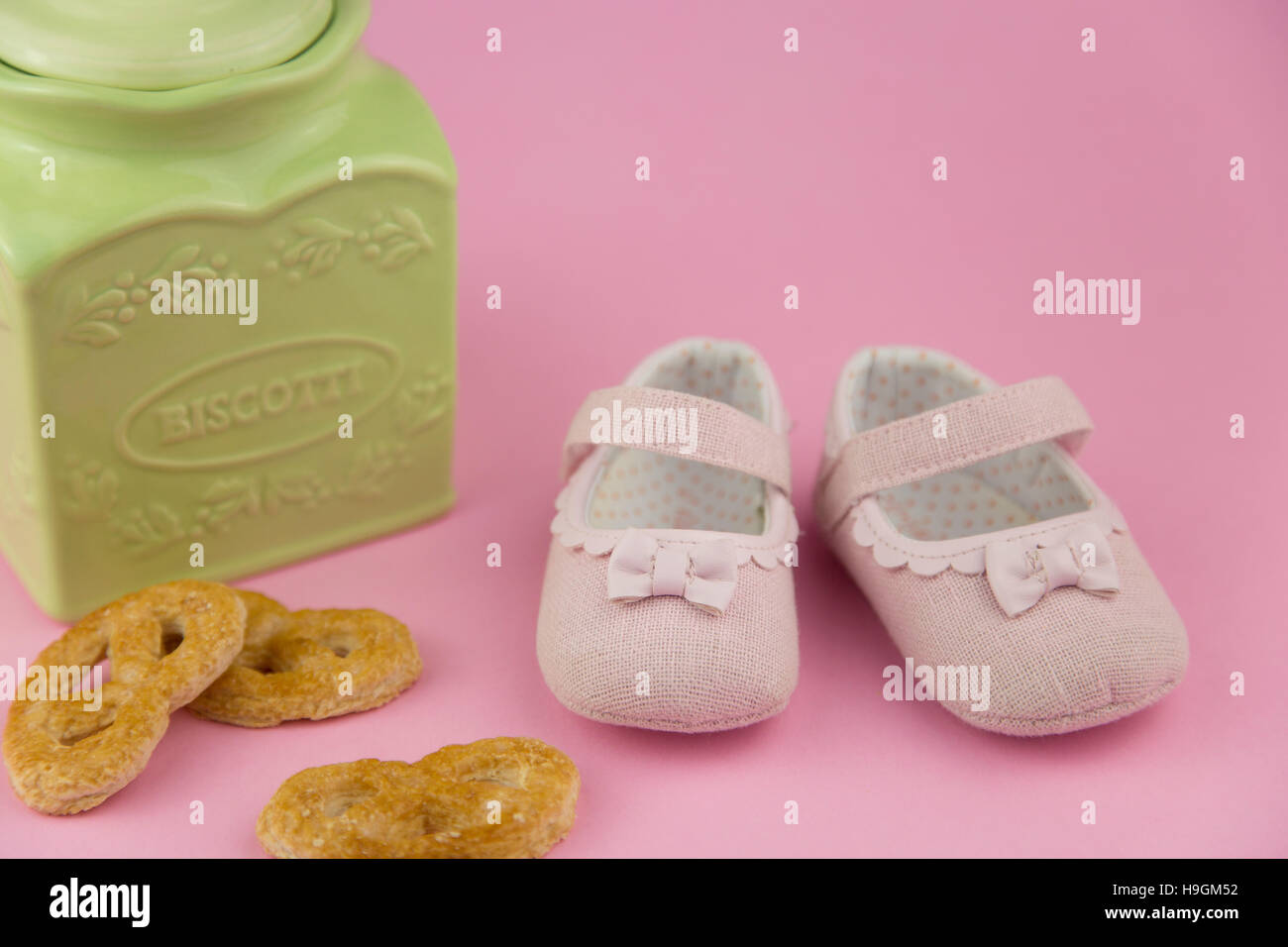 portrait in provencal style of a pair of little girl shoes - Stock Image