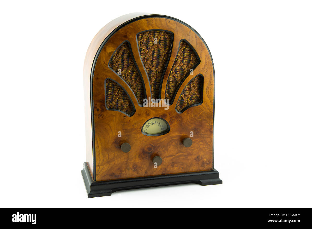 portrait of a old style wooden radio Stock Photo