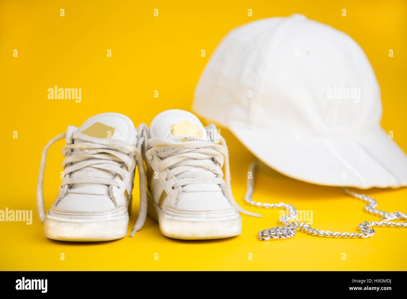 portrait of baby sneakers inspired by the hip hop style - Stock Image