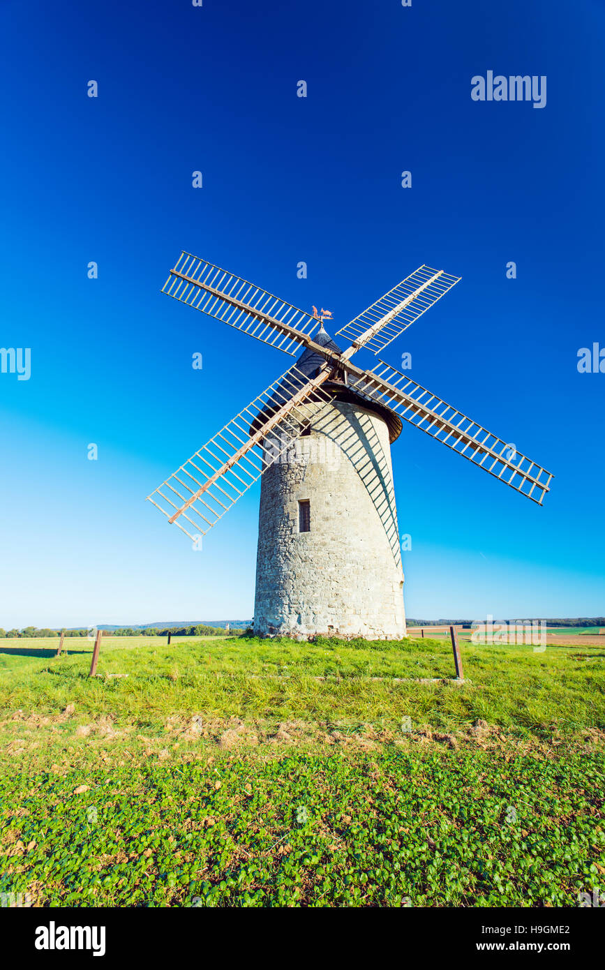 The Moulin de Coyolles windmill built in 1635 in the Largny-sur-Automne district north east of Paris, France - Stock Image