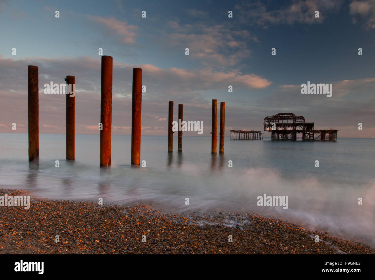 West Pier at sunset Stock Photo