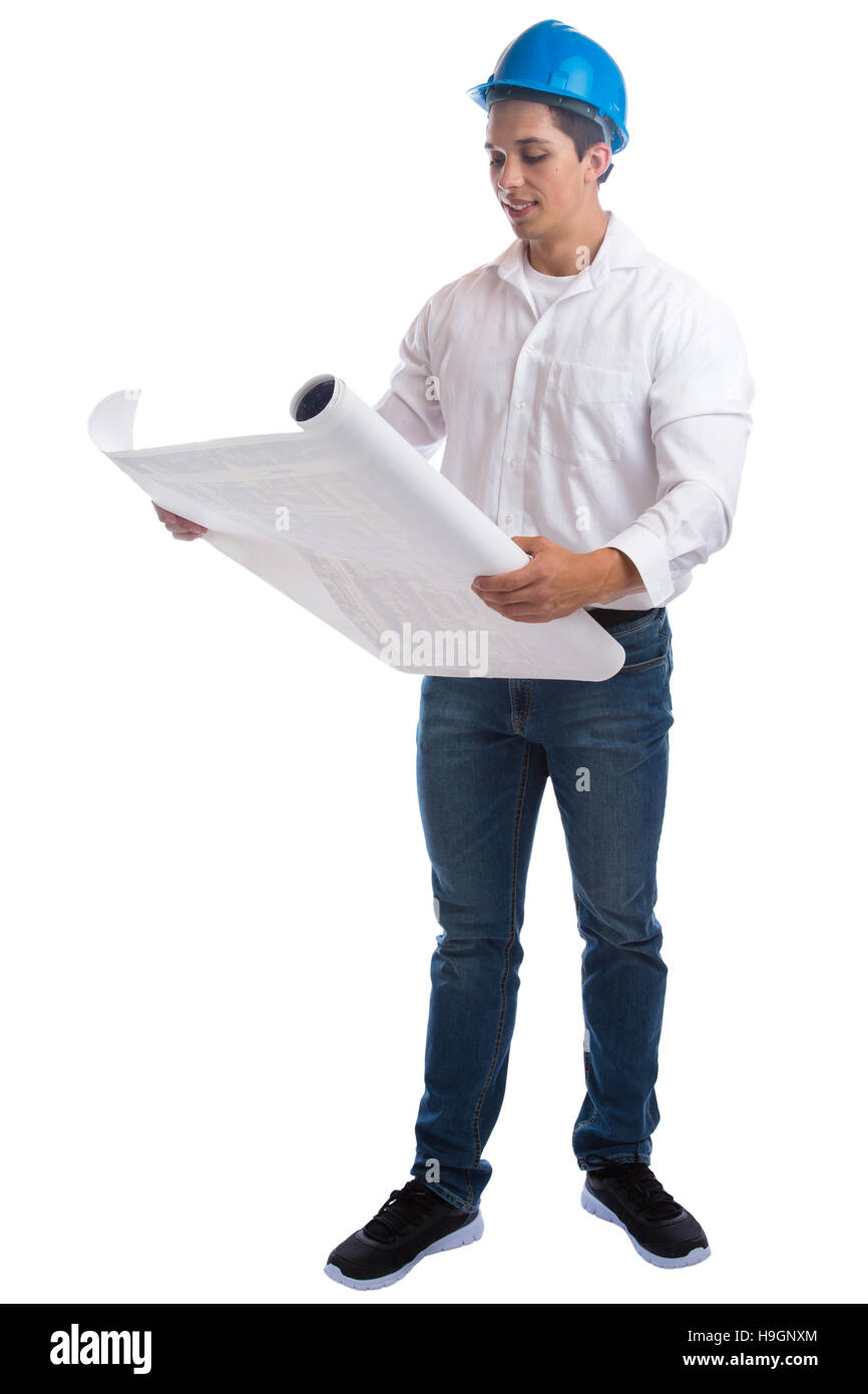 Young architect reading plan full body portrait occupation job isolated on a white background - Stock Image