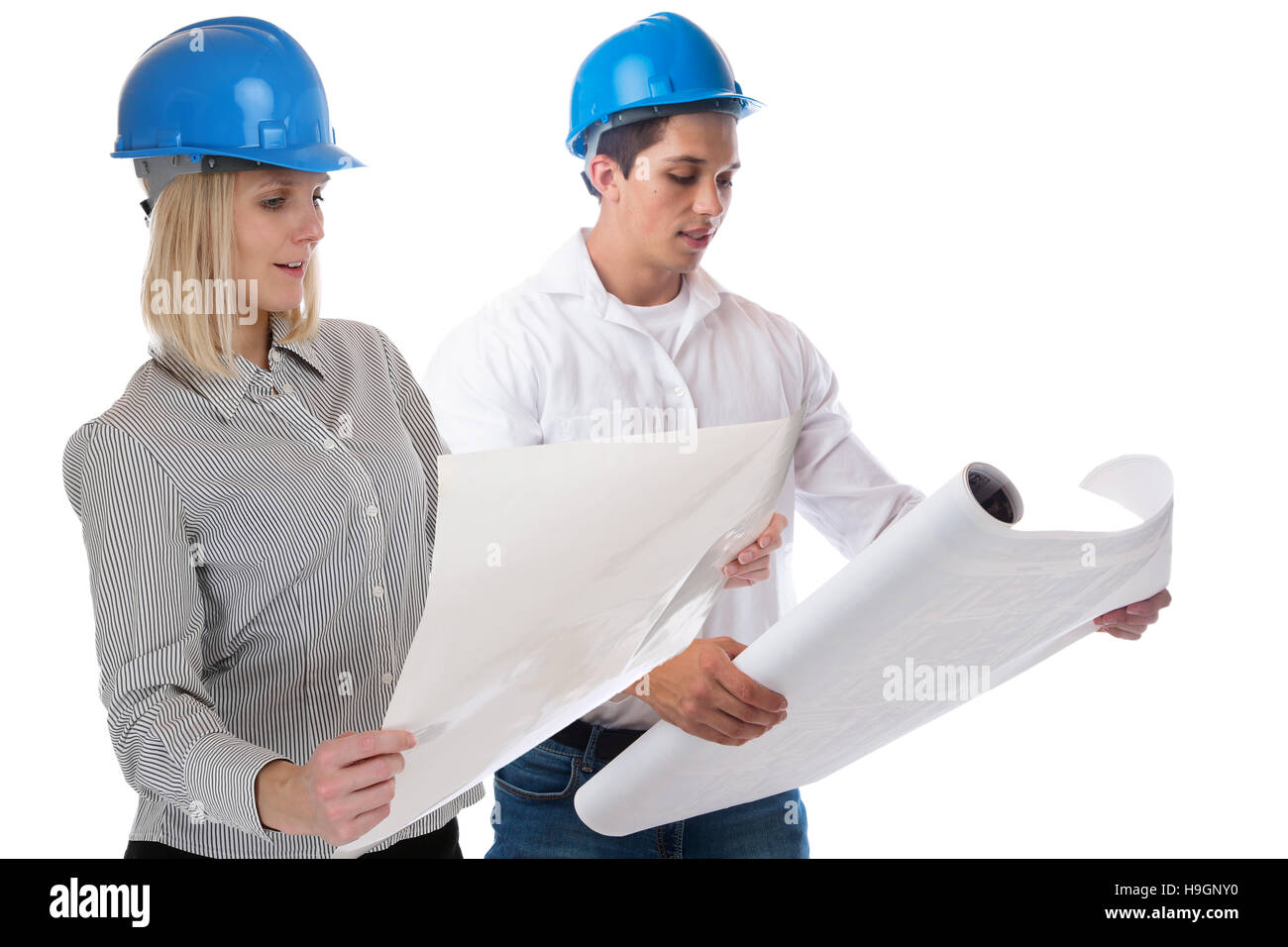Architects architect reading plan occupation job isolated on a white background - Stock Image