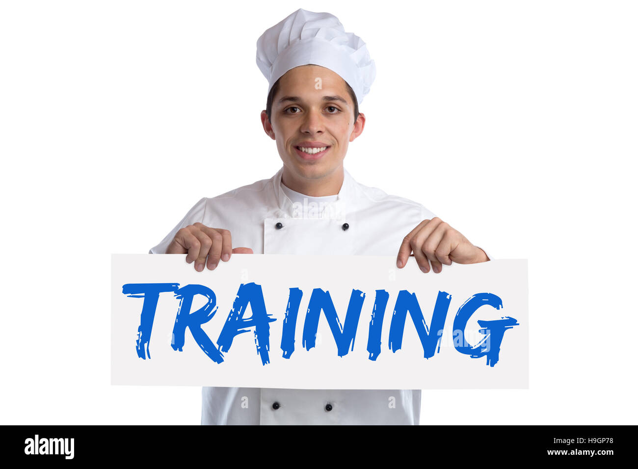 Training cook apprentice trainee cooking job isolated on a white background - Stock Image