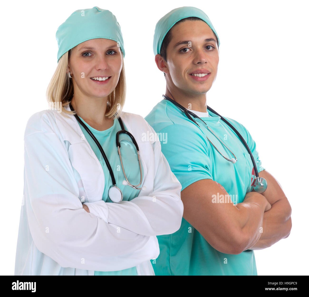 Doctor team young doctors occupation job isolated on a white background - Stock Image