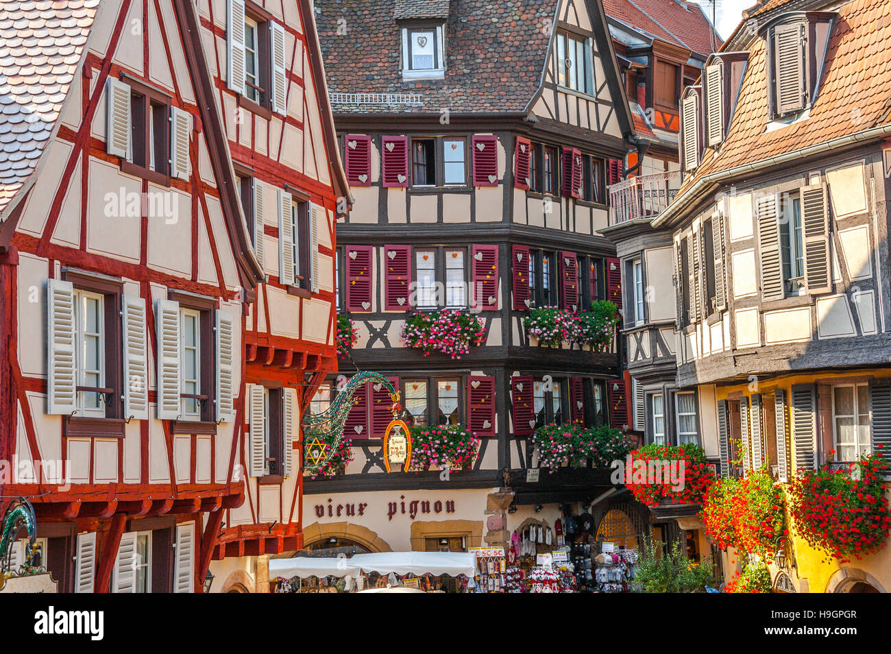Colmar, scenic picturesque town, at the scenic route of Vine Alsatian, Alsace, France - Stock Image