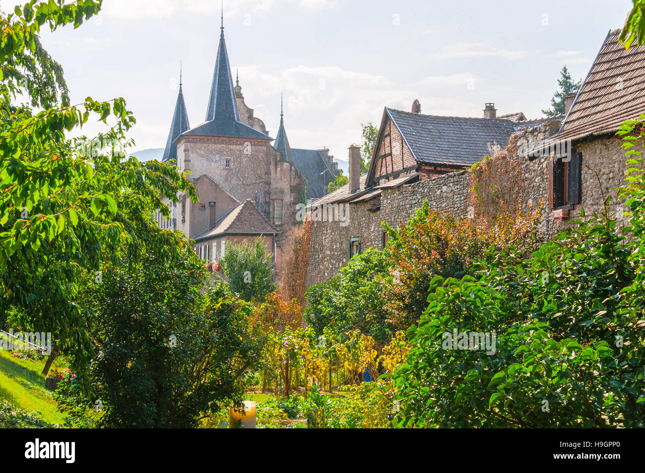 Kientzheim with medieval town wall, next to Kaysersberg, scenic village, route of vine Alsatian, Alsace, France Stock Photo