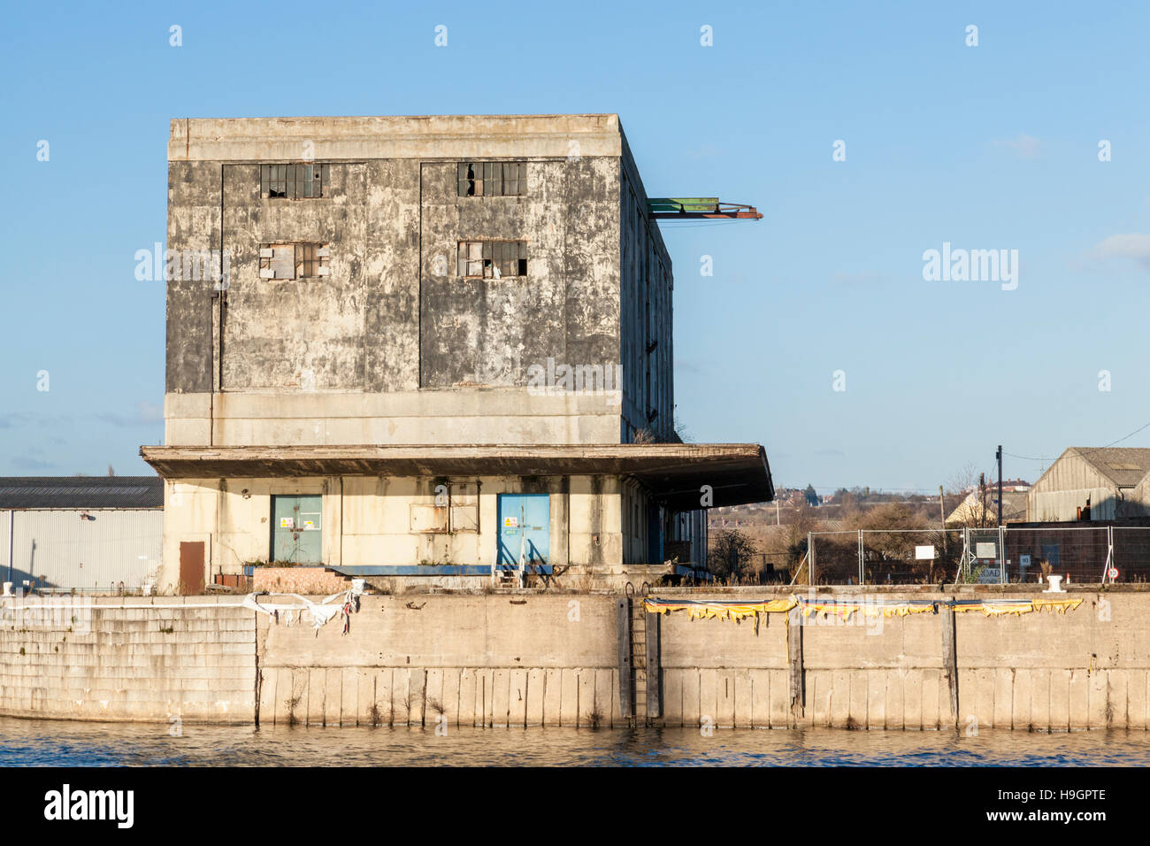 Part of the Trent Lane Depot, an old disused inland port warehouse building on the River Trent, Nottingham, England, - Stock Image