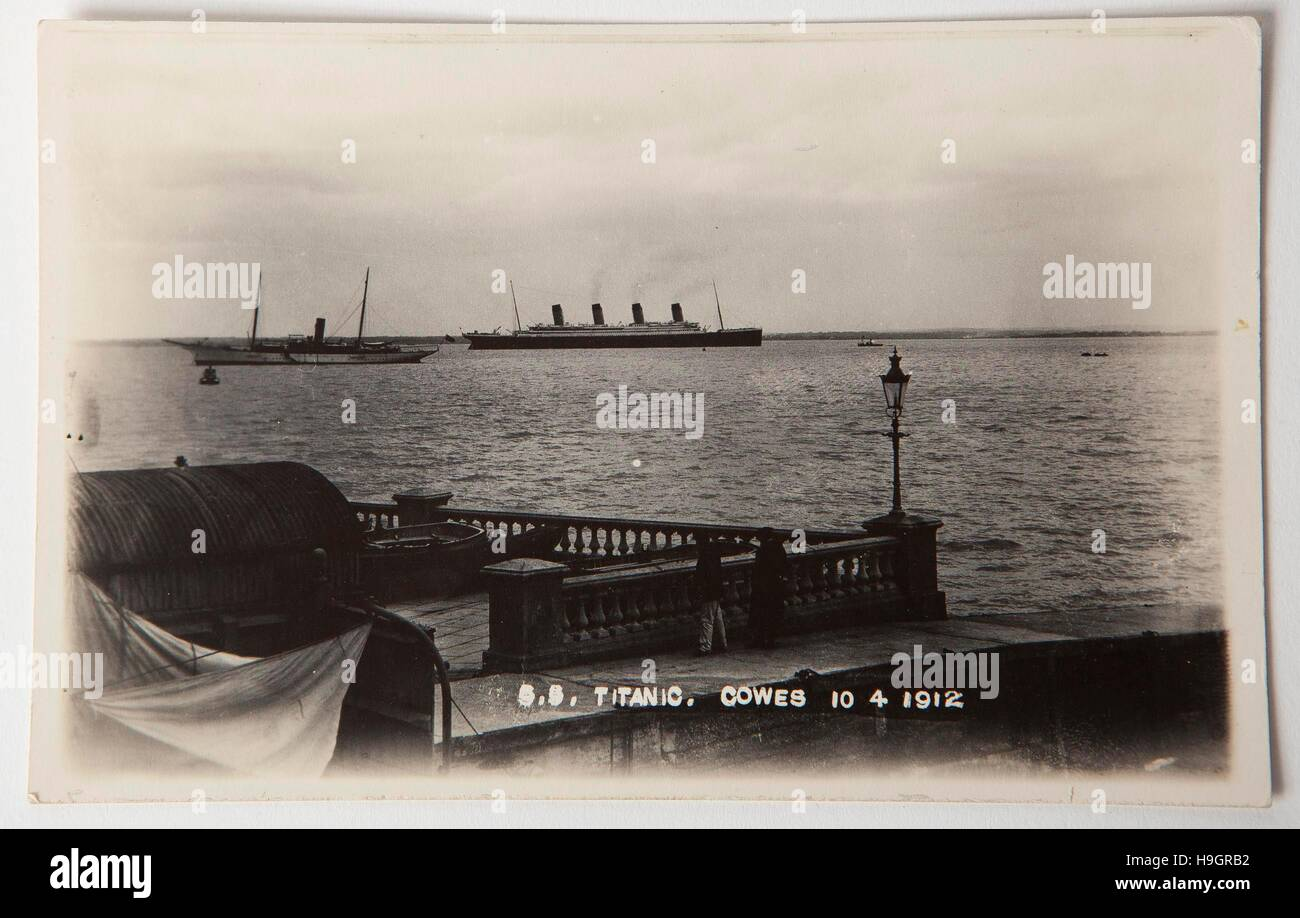 A rare photo postcard of the Titanic taken from Cowes, Isle of Wight, dated 10th April 1912 that is being auctioned - Stock Image
