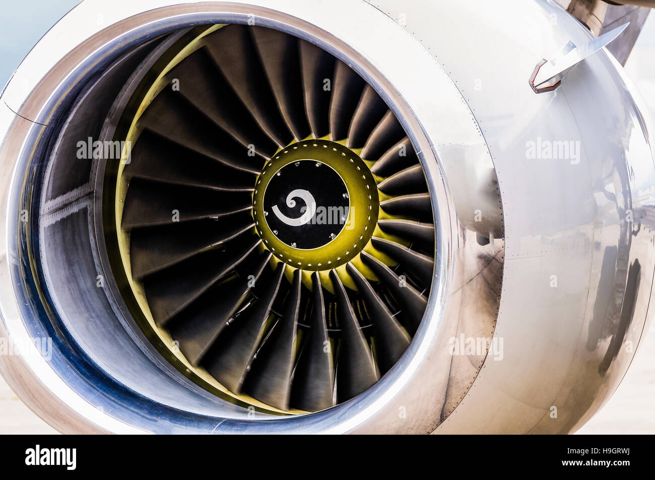 Front engine cowling and turbine blades of the engine of a Boeing 737. - Stock Image
