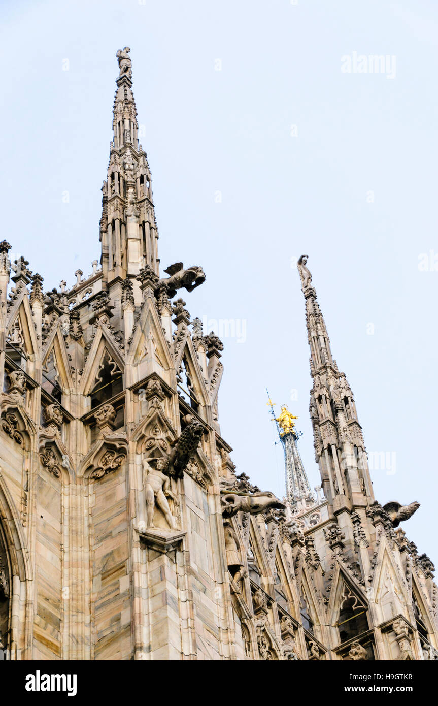 Spires on the roof of the Duomo Milano (Milan Cathedral) - Stock Image