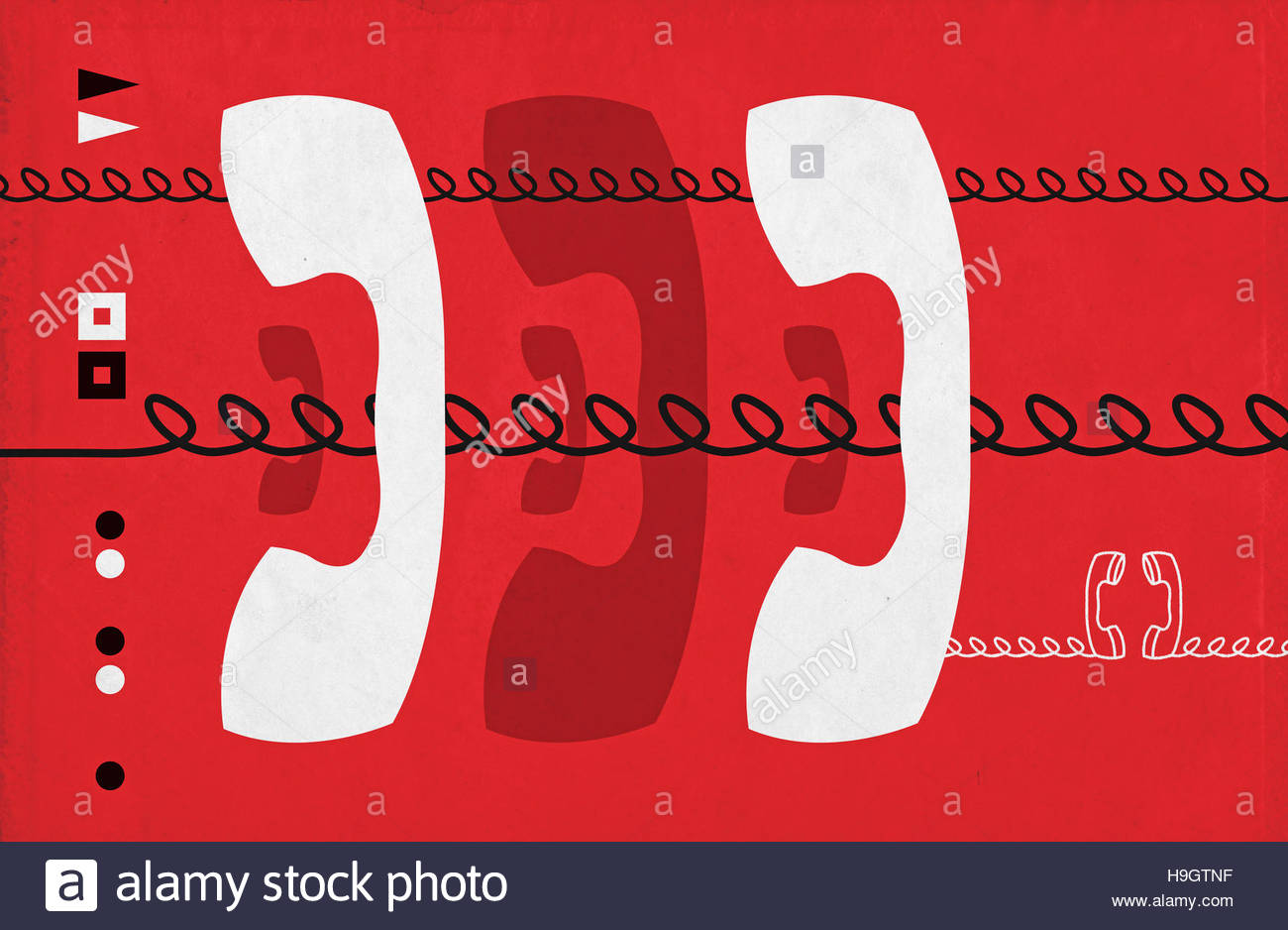 Retro Telephone mid century vintage style illustration - Stock Image