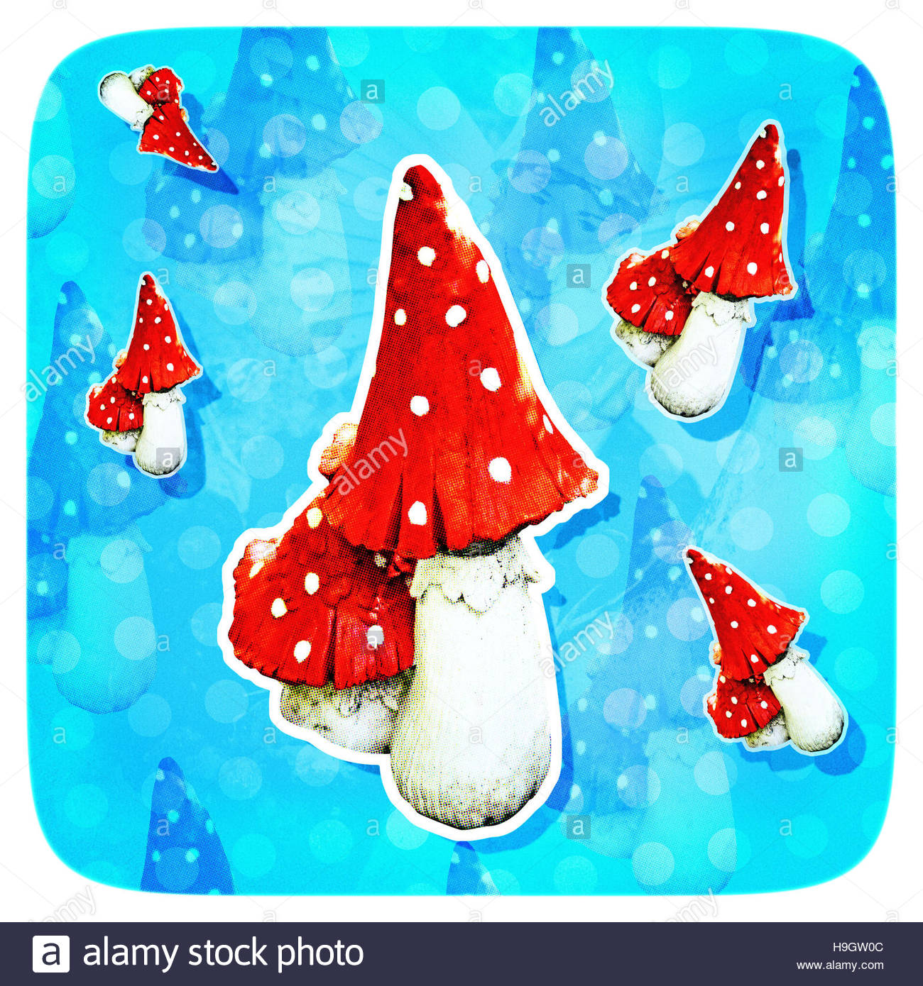 Magic Mushrooms kitsch pixie fairy magical background - Stock Image