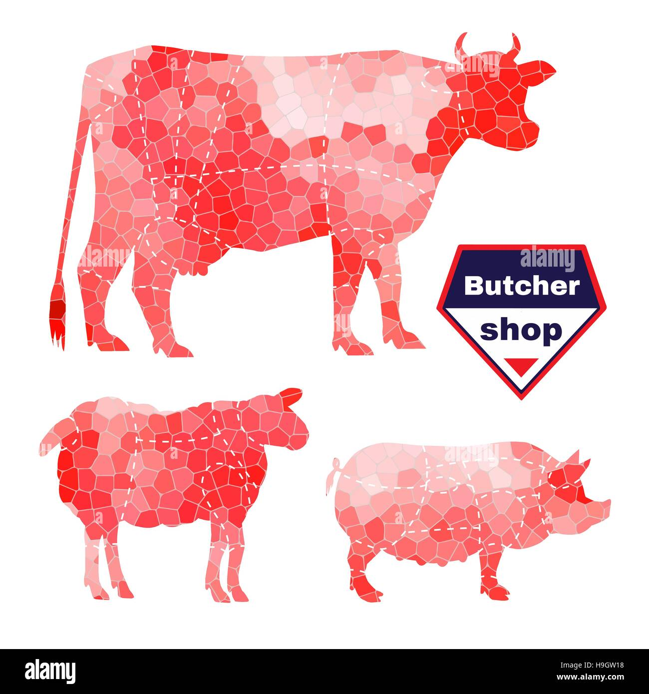 Set of farm animals for butcher shop with anatomic cut - Stock Image