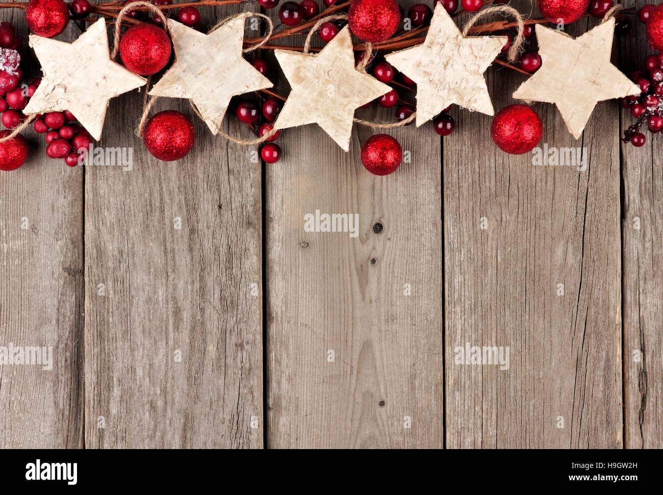 Christmas Top Border.Rustic Christmas Top Border With Wood Star Ornaments And