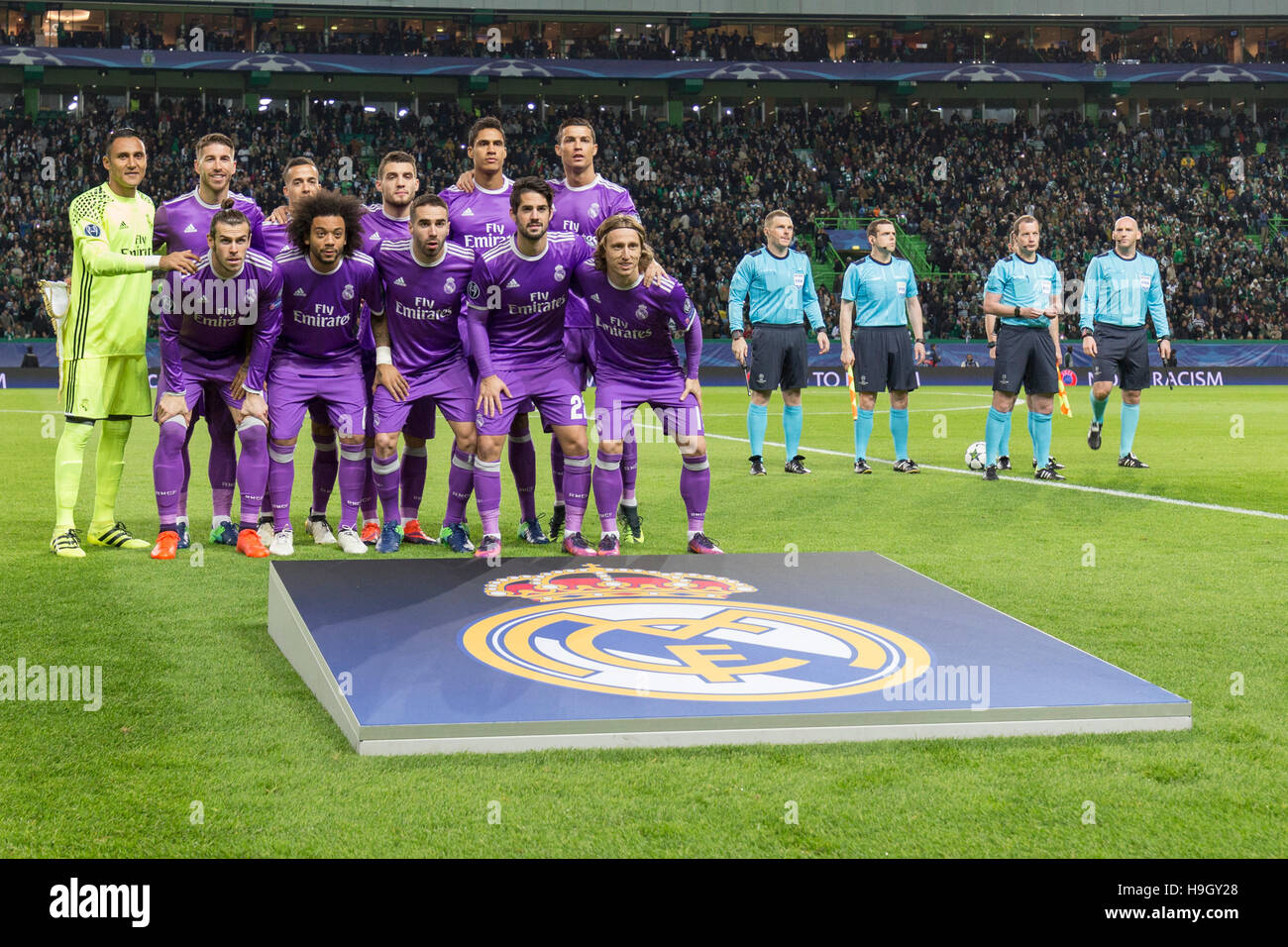Lisbon, Portugal. 22nd Nov, 2016. Real Madrid starting team for the game of the UEFA Champions League, Group F, - Stock Image