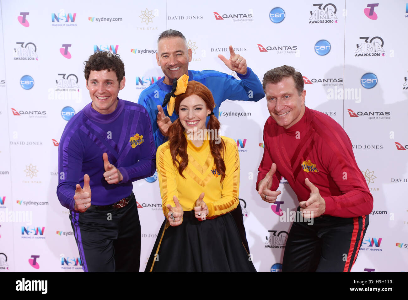 Sydney, Australia. 23 November 2016. The Wiggles arrives on the red carpet for the 30th ARIA Awards at The Star, Stock Photo