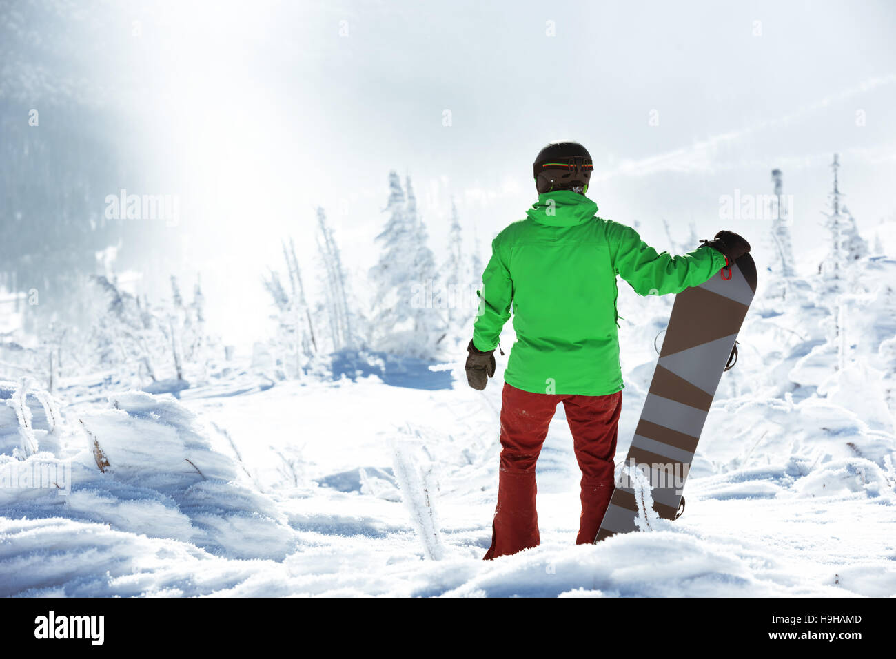 Snowboarder stands with snowboard on the top of mountain on forest backdrop. Sheregesh ski resort - Stock Image