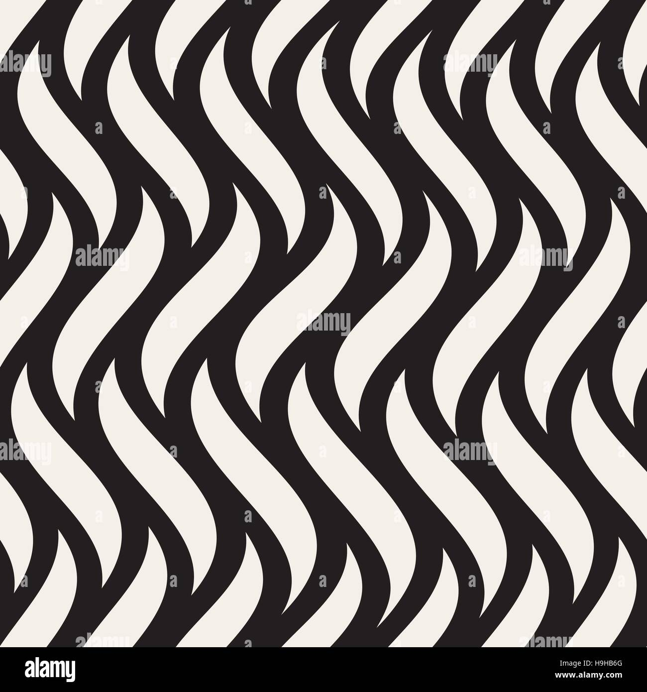 Vector Seamless Black And White Vertical Wavy Lines Pattern Stock Vector Art & Illustration