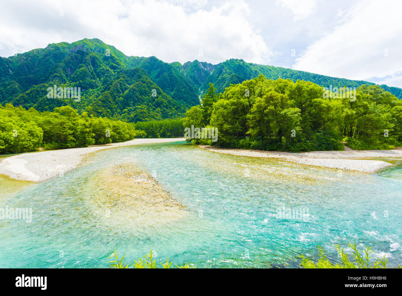 Mountains And Crystal Clear Azusa River In This Pristine Untouched Nature Landscape Japanese Alps Town Of Kamikochi Naga