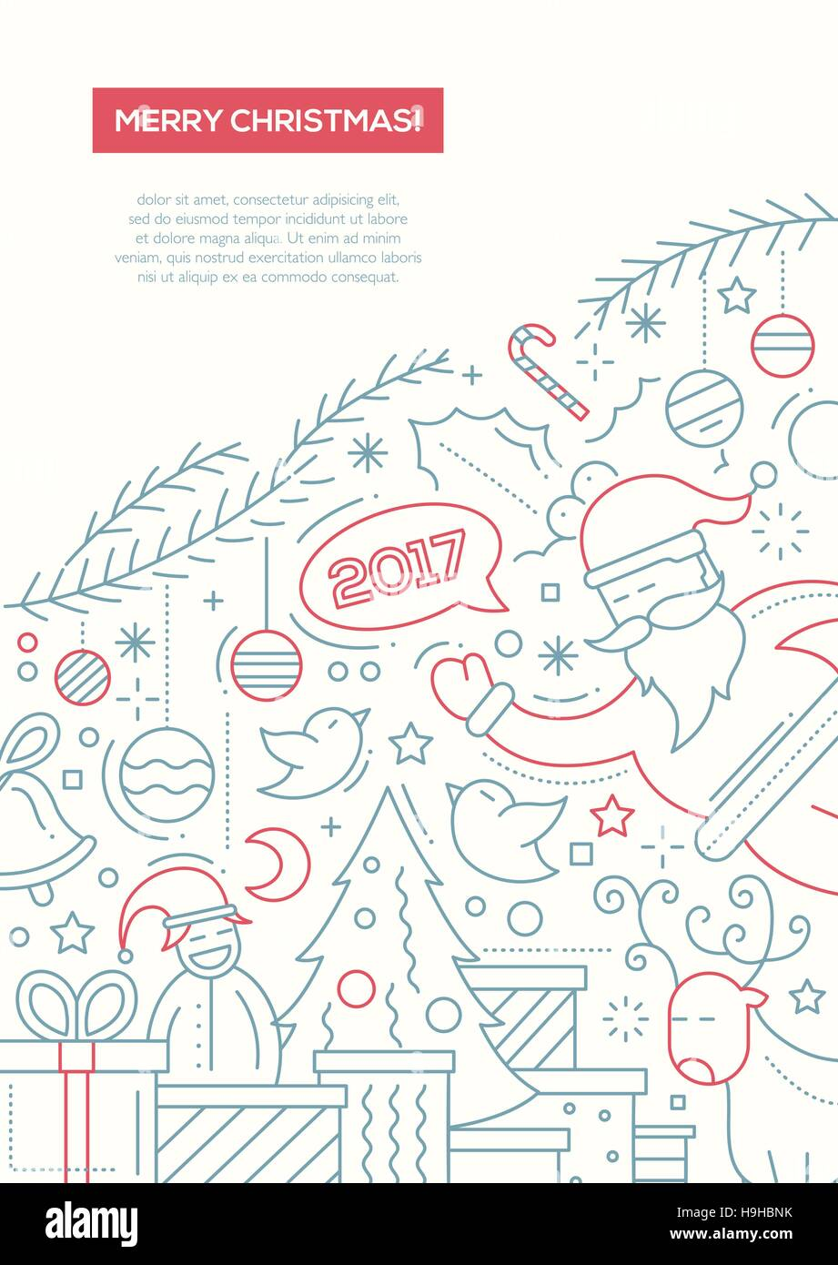 merry christmas and happy new year 2017 vector plain line design brochure poster flyer presentation template a4 size layout