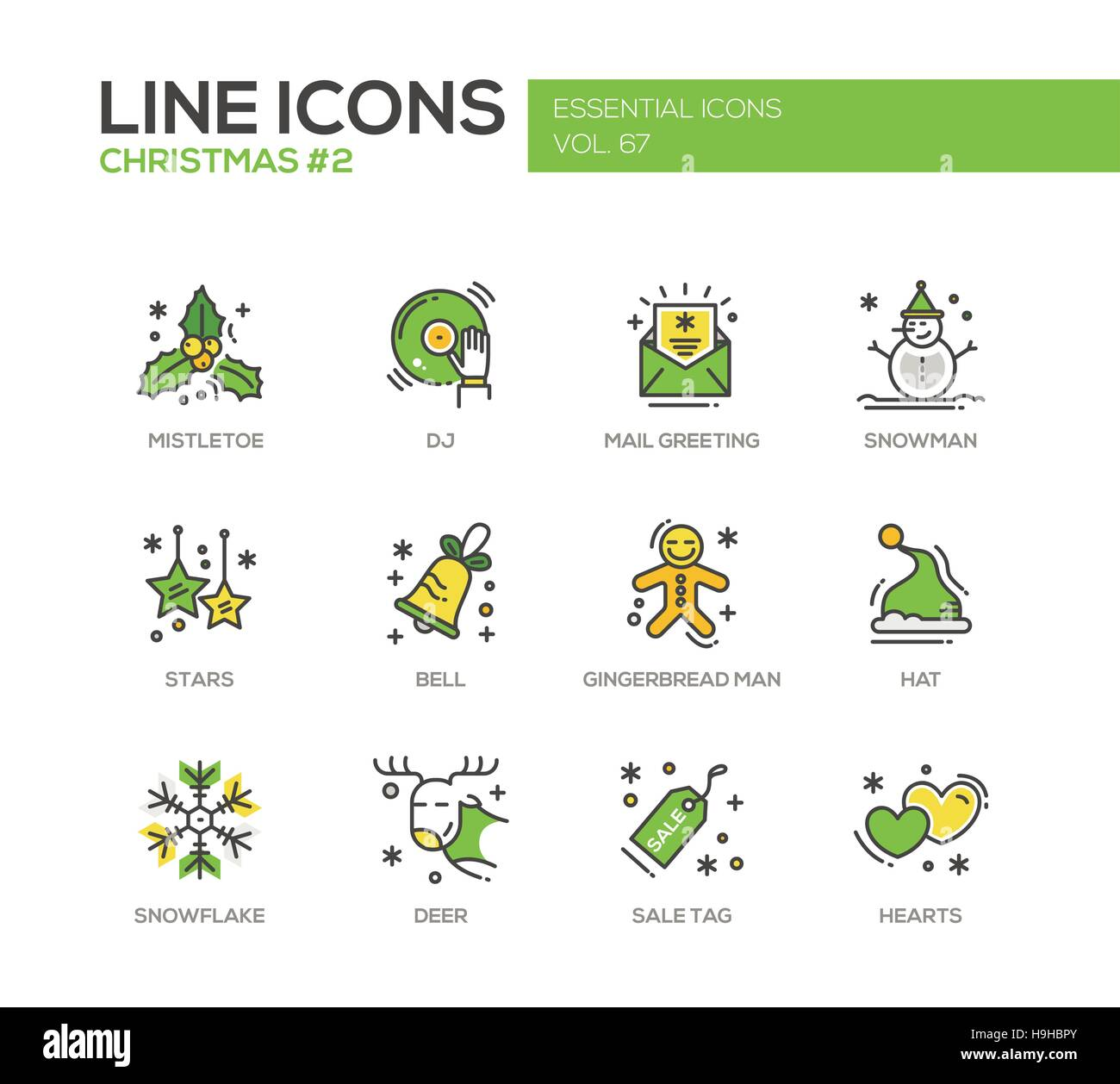 Christmas and new year set of modern vector line design icons and christmas and new year set of modern vector line design icons and pictograms mistletoe dj mail greeting snowman stars bell gingerbread man h m4hsunfo