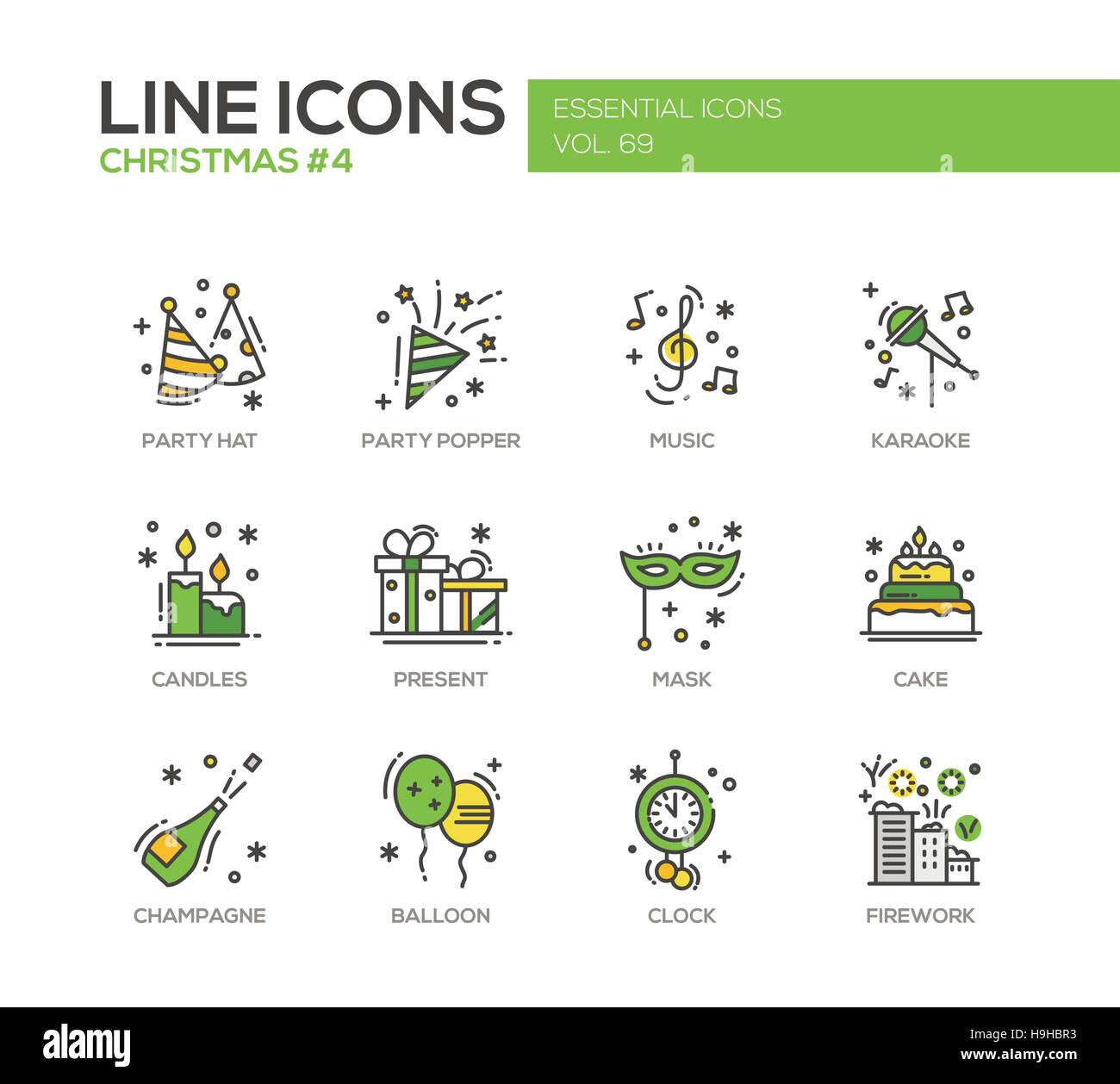 215c5d6d3da5e Christmas and New Year - set of modern vector line design icons and  pictograms. Party hat
