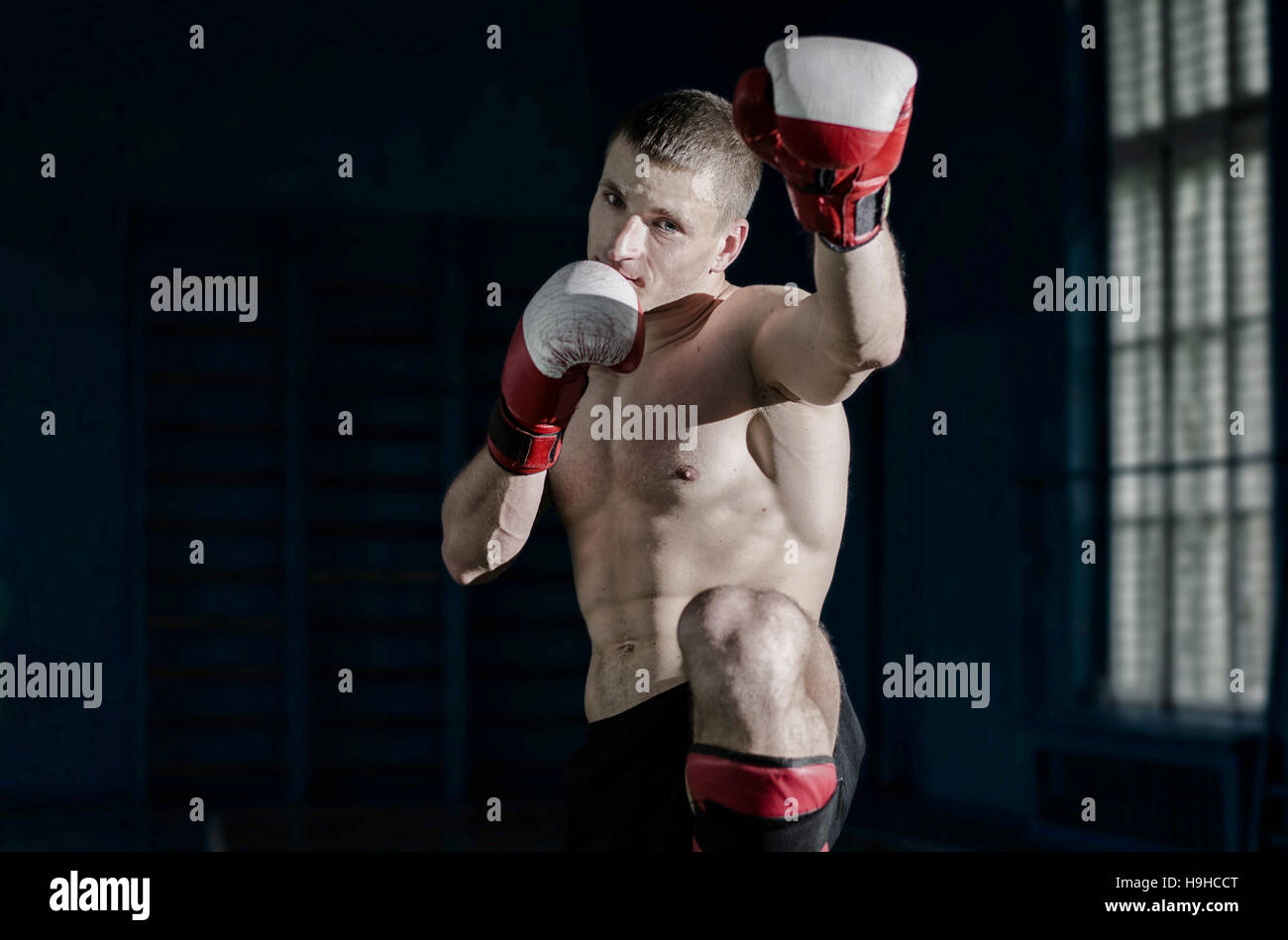 Young athletic man with boxing gloves and a rack - Stock Image