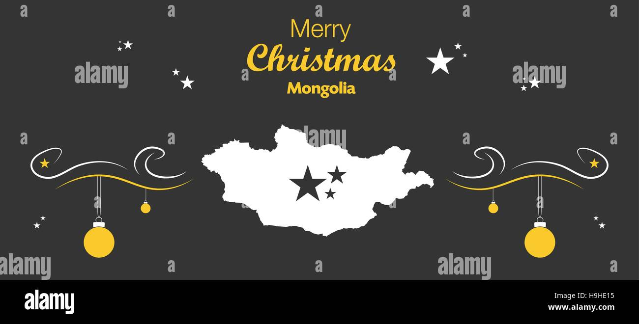 Merry Christmas illustration theme with map of Mongolia Stock Vector