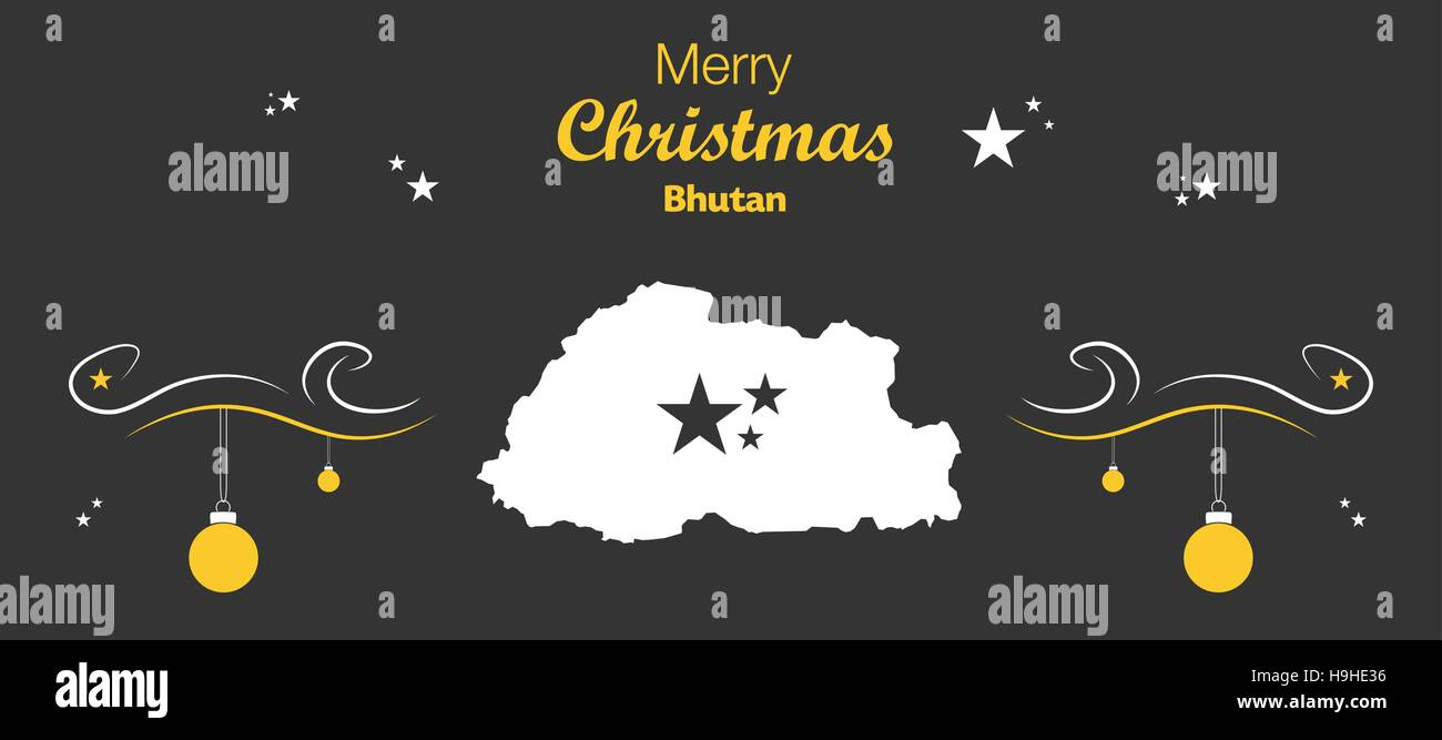 Merry Christmas illustration theme with map of Bhutan - Stock Vector