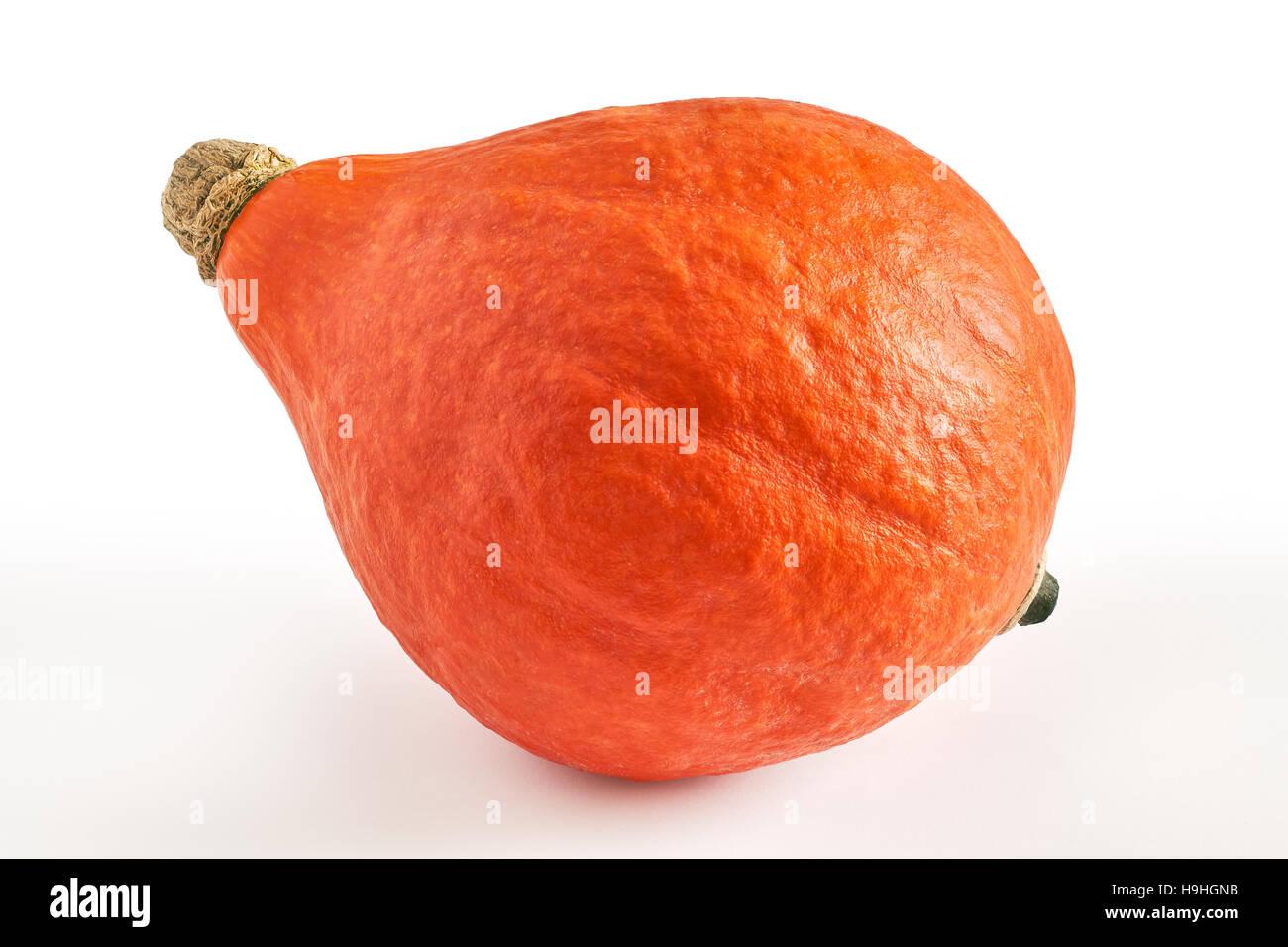 Red kuri squash (Hokkaido pumpkin) isolated on white background Stock Photo