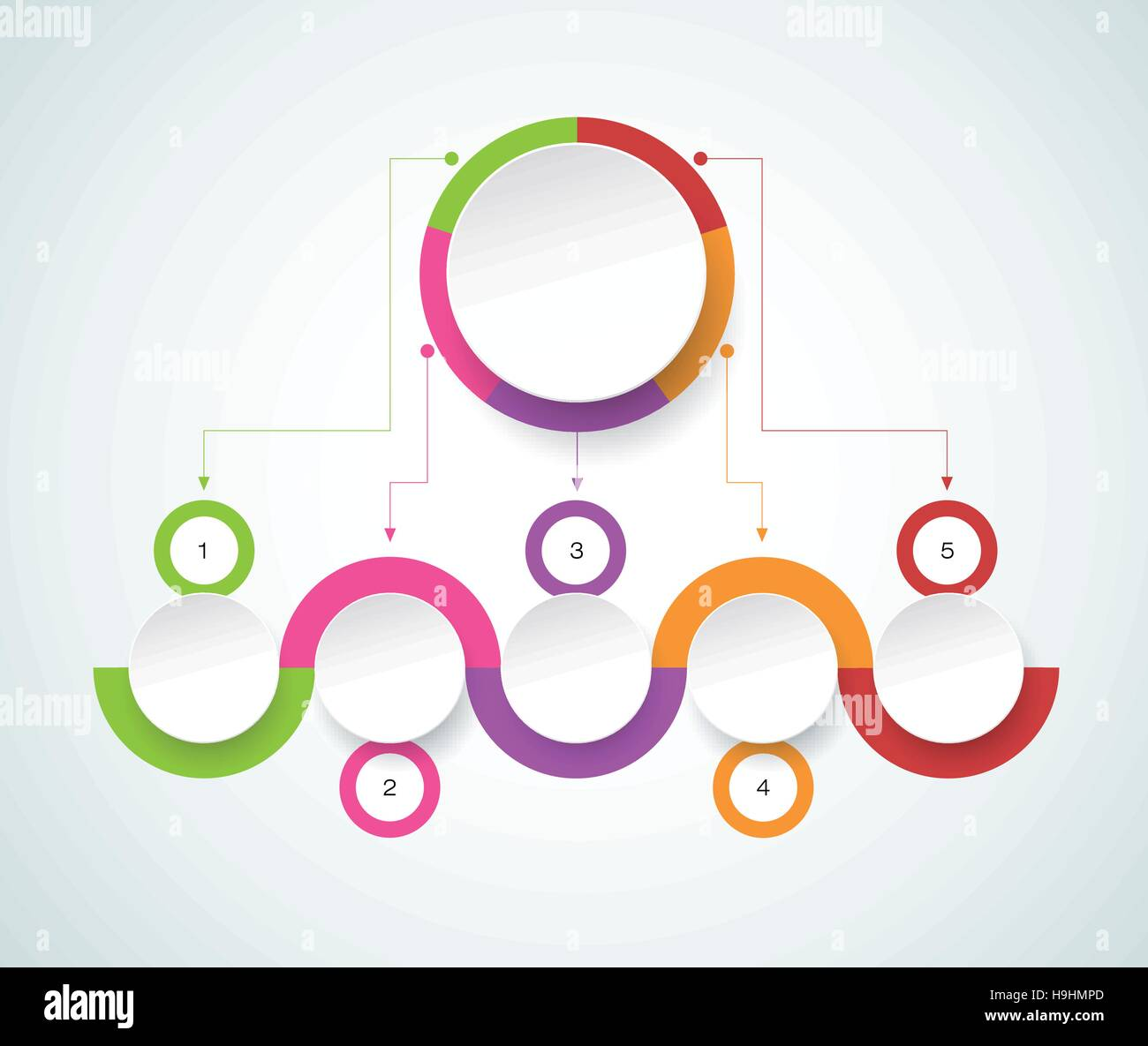 Vector infographic template with 3D paper label, integrated circles. Business concept with options. For content, - Stock Image