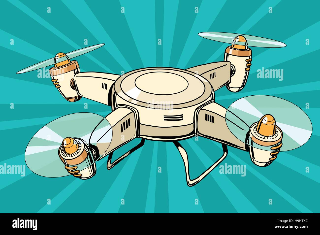 quadcopter toy aircraft pop art illustration, Drone flying - Stock Vector