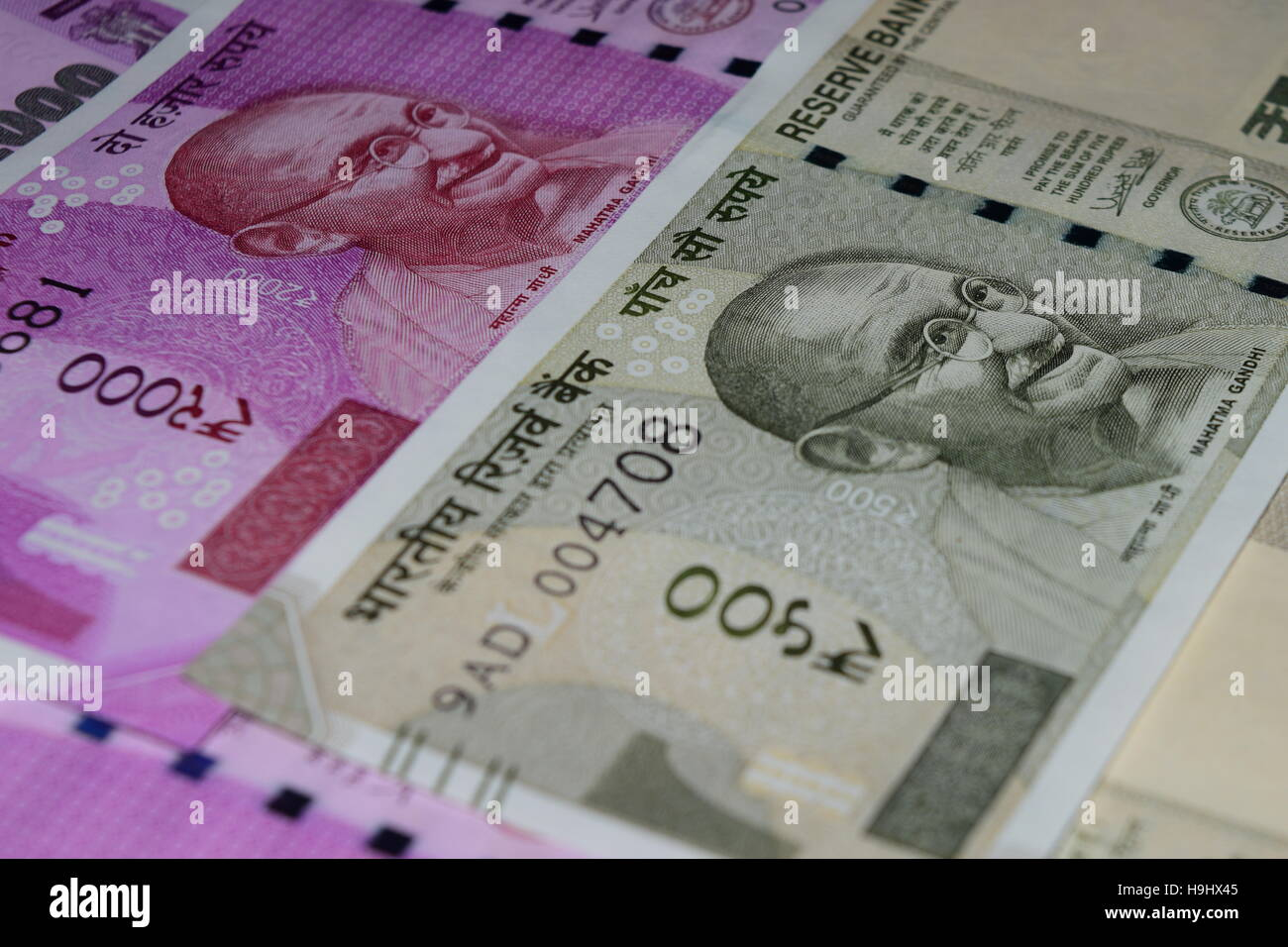 Mahatma Gandhi portrait view in Latest 500 and 2000 Rupees Currencies note in India after the ban of old bank currency - Stock Image
