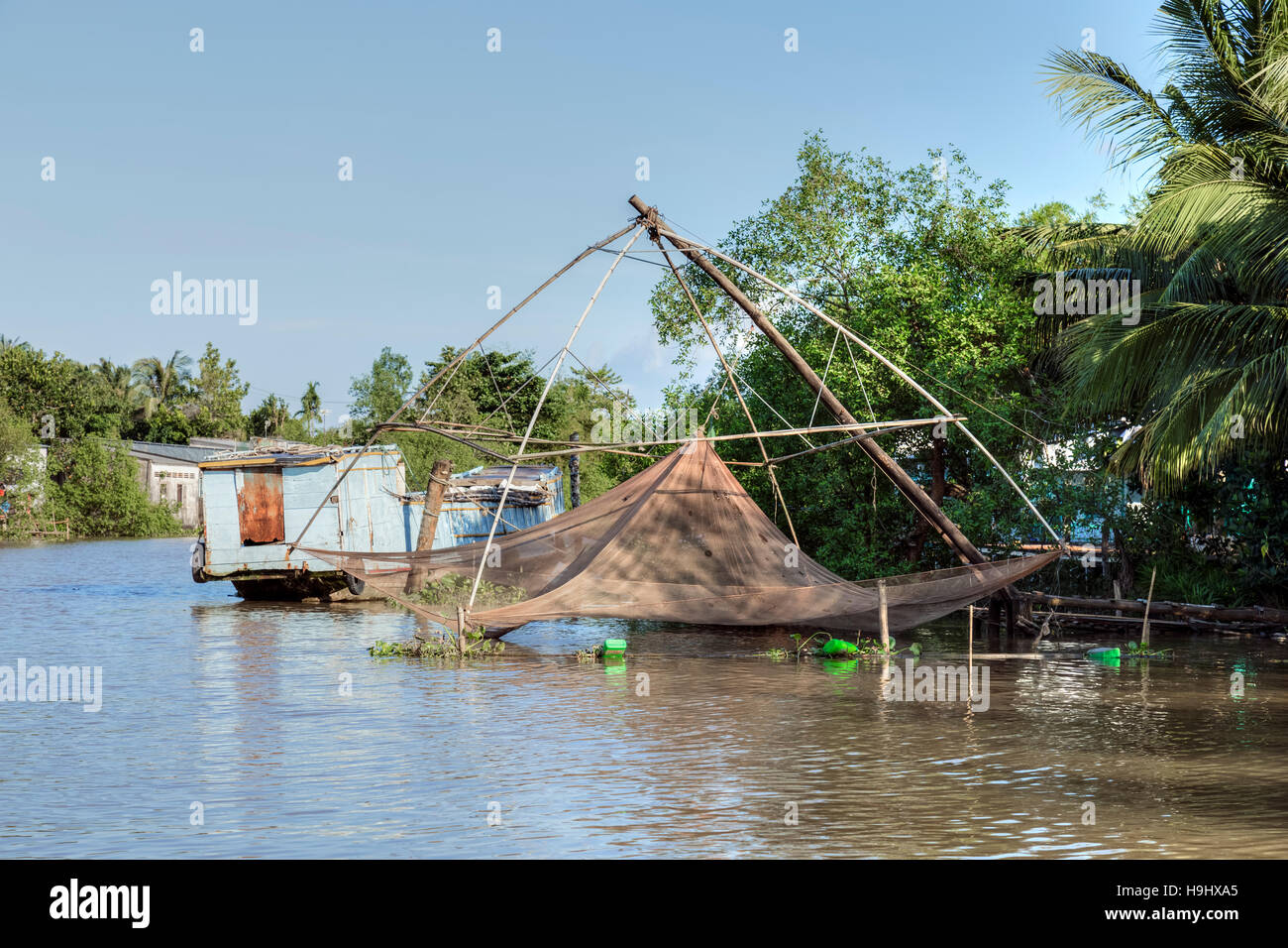 fisher net on the waterways in the Mekong Delta, Can Tho, Vietnam, Asia - Stock Image