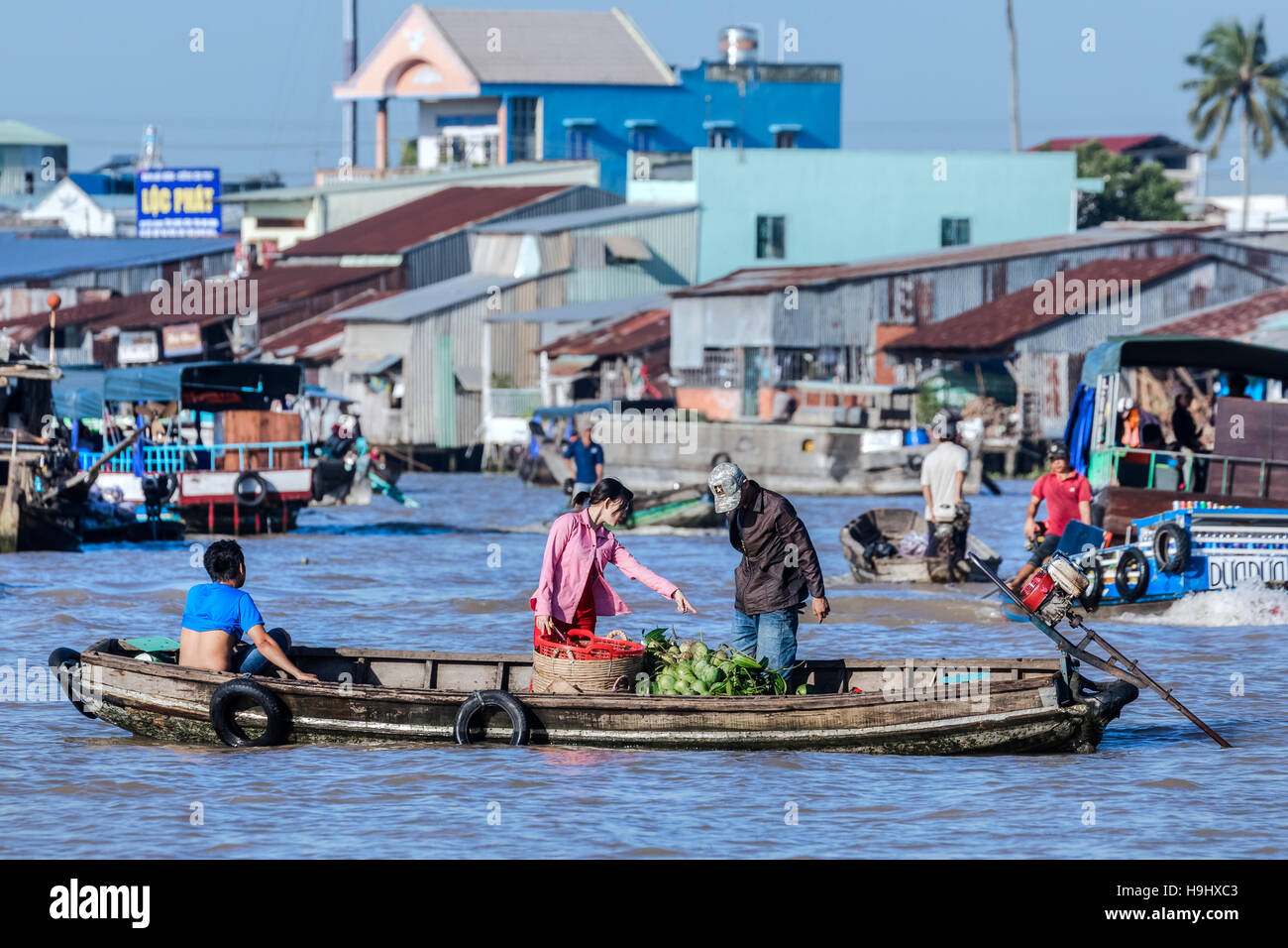 floating market in Can Tho, Mekong Delta, Vietnam, Asia - Stock Image