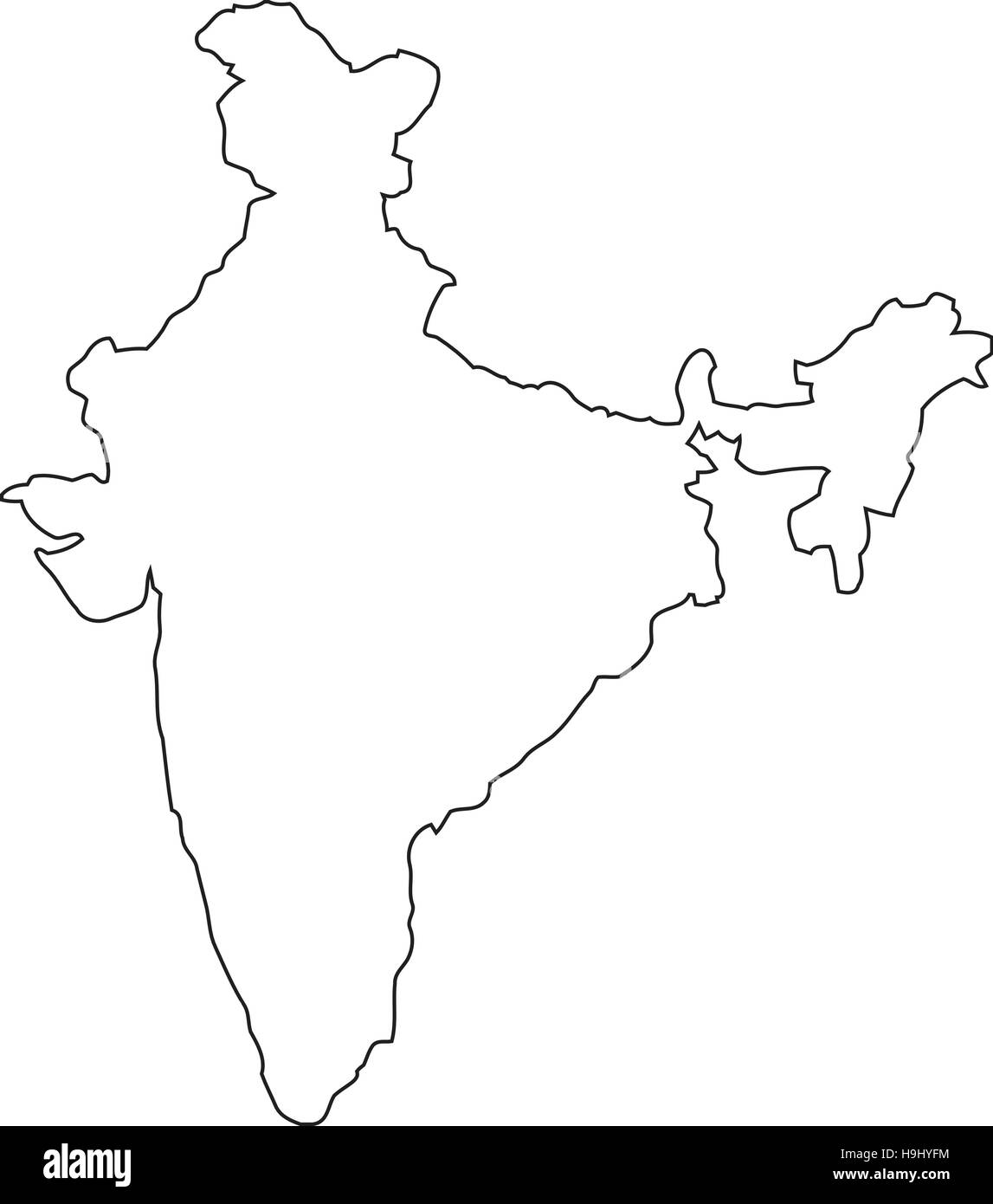 India Map Black And White Stock Photos Images Alamy