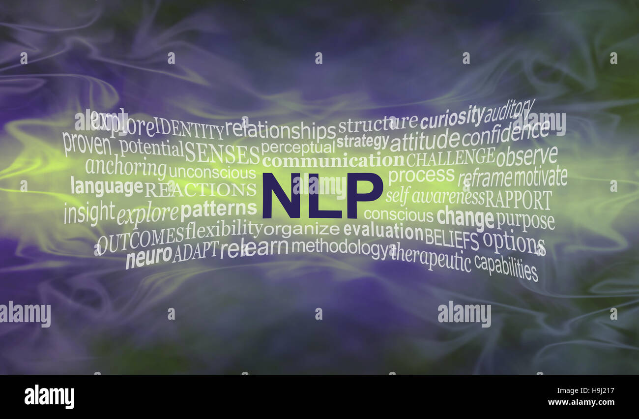wide smoky misty deep purple and lime green background with an NLP word cloud streaming across the middle in lime - Stock Image