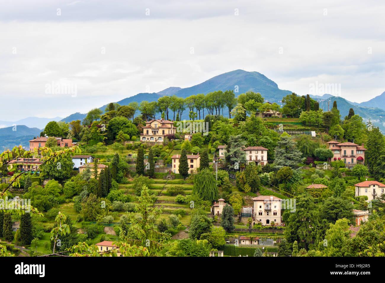 Beautiful view of  countryside near Bergamo in Lombardy, Italy Stock Photo