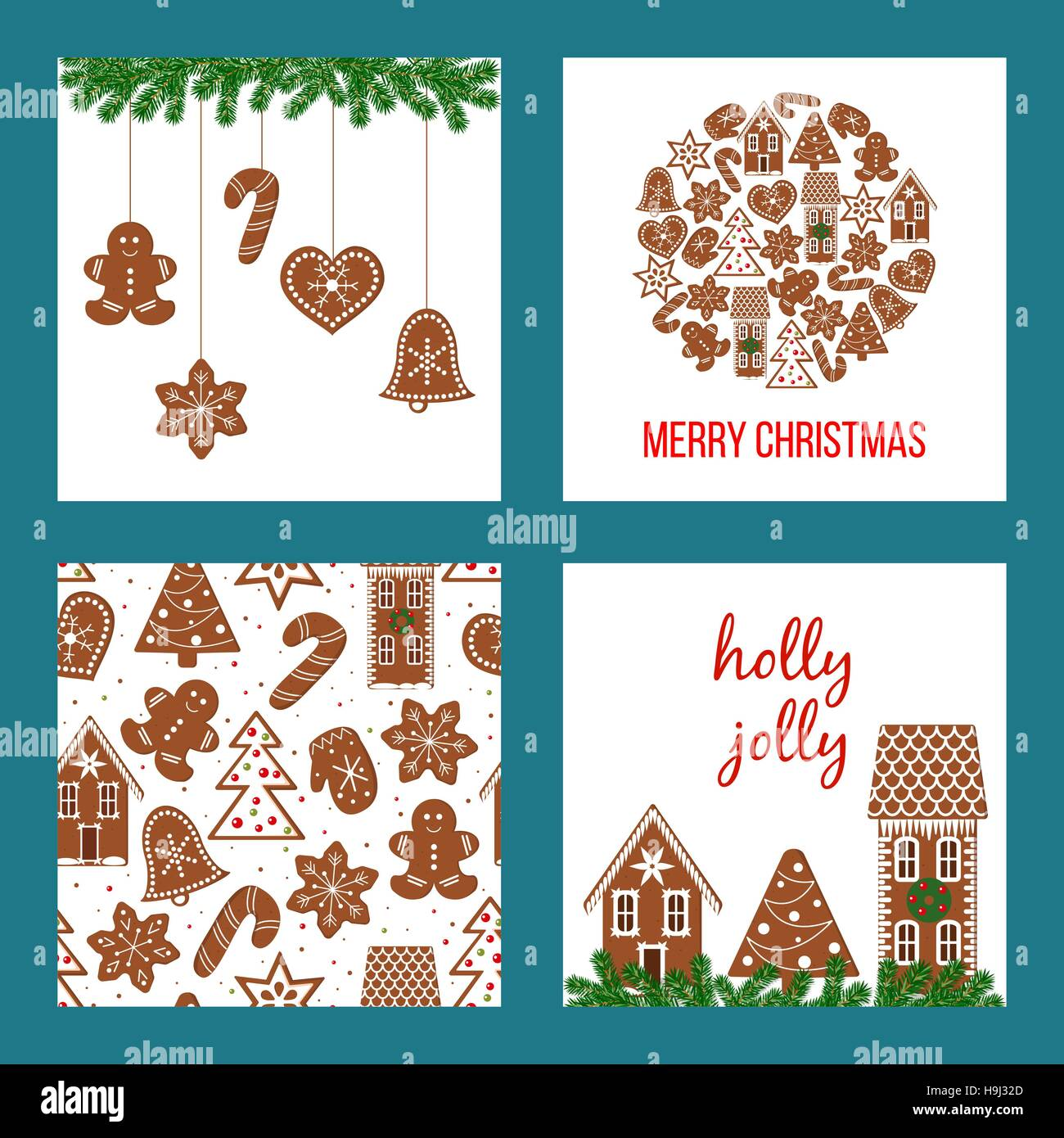cute christmas set xmas theme in boarded squares with gingerbread H9J32D
