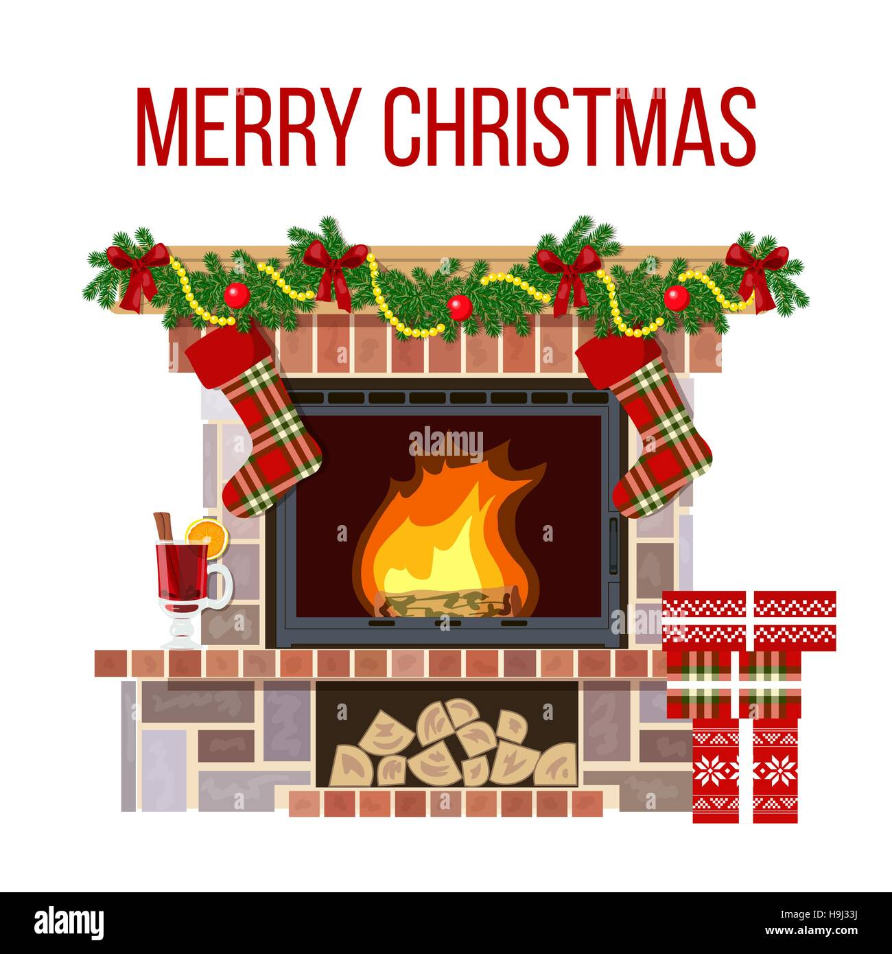 Christmas fireplace and mullled wine. Xmas decorated room - Stock Vector