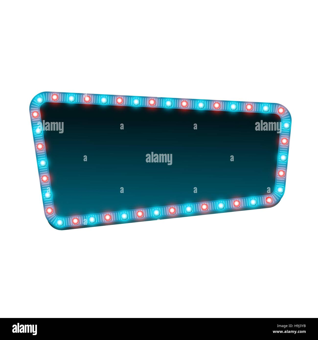 Blank 3d retro light banner with shining lights. Blue sign with blue and red bulbs and dark blank space for text. - Stock Image