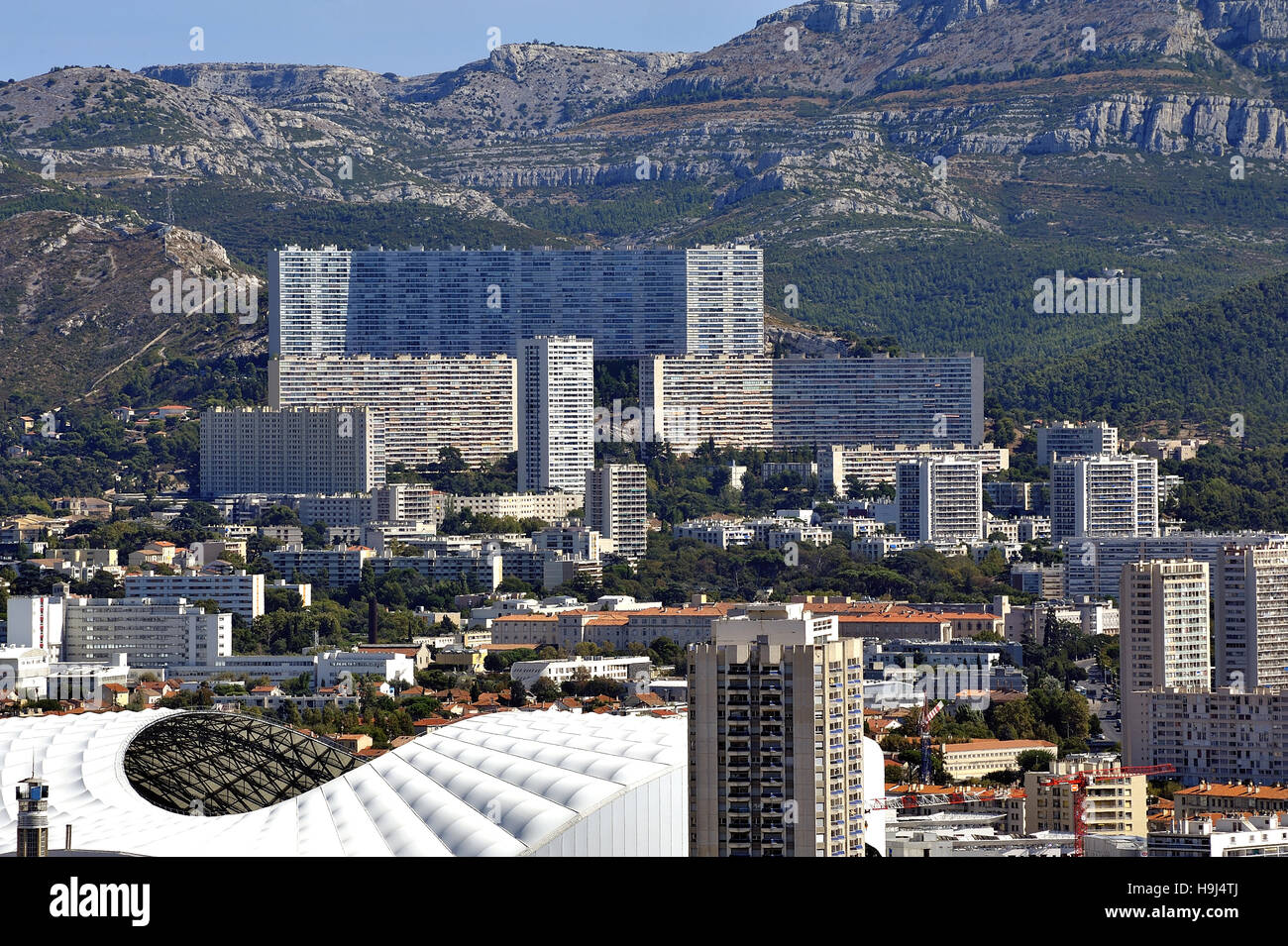Aerial view of Marseille to the northern districts with the cycling stadium and cited the Castellane background - Stock Image
