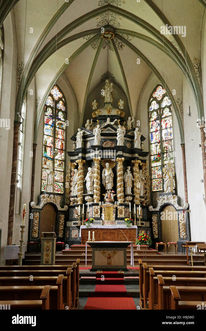 church with high altar, Oelinghausen Convent, Herdringen, Sauerland, North Rhine-Westphalia, Germany - Stock Image