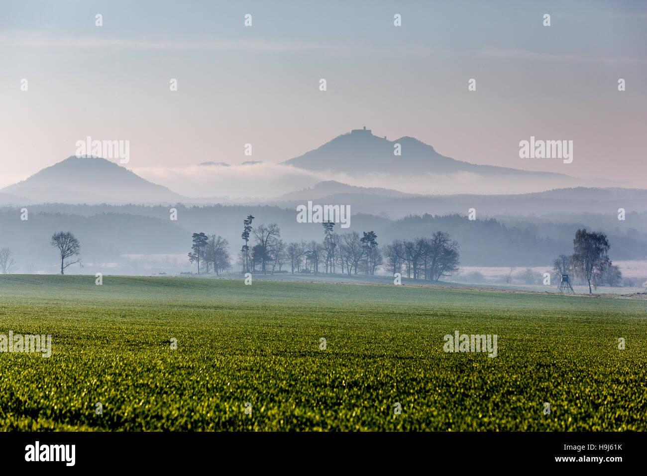 Castle Bezdez, sunrise, fogs, field, grass, Autumn, Czech republic, view from Ceska Lipa - Stock Image