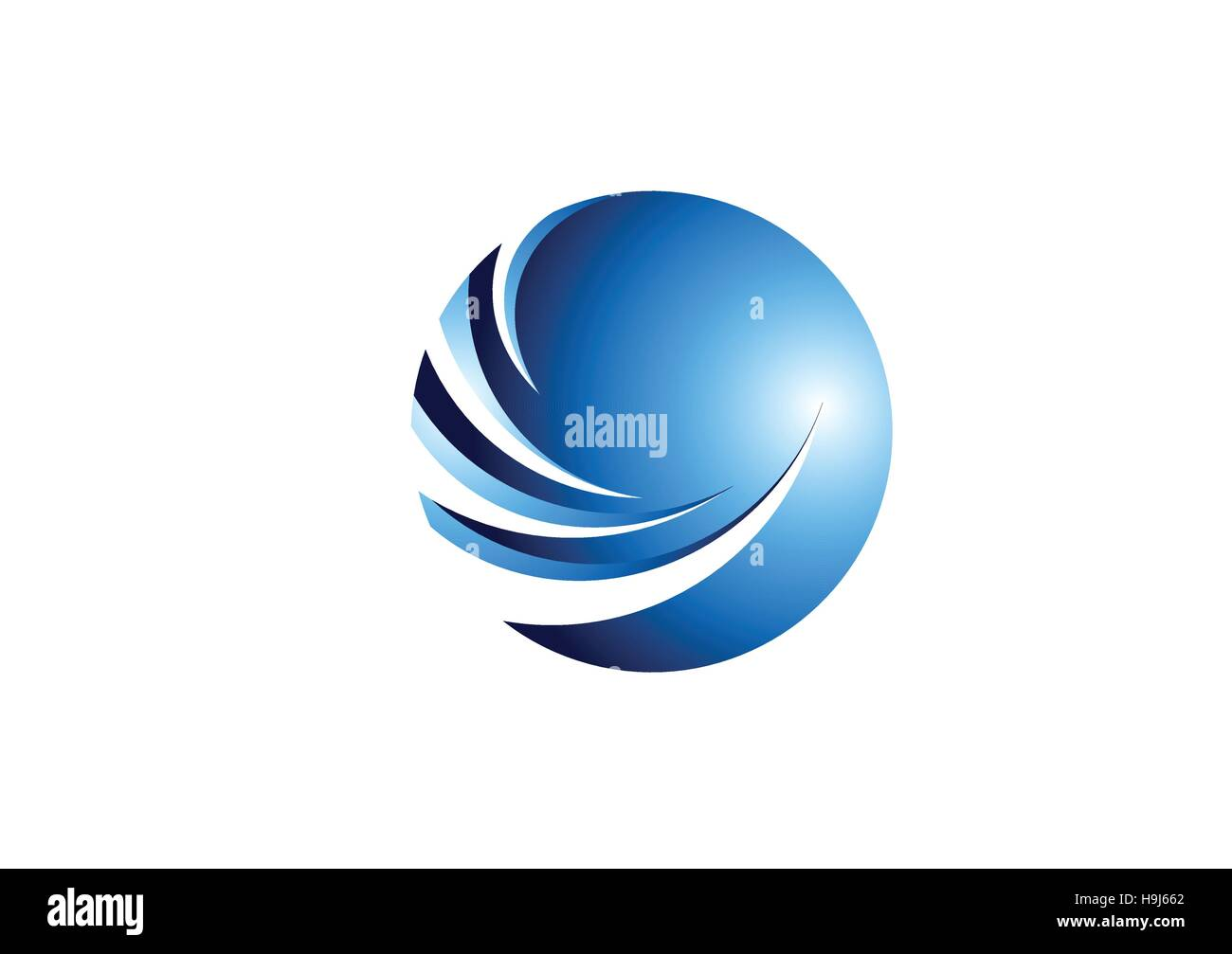 sphere,circle,logo, global blue abstract round icon symbol vector design` - Stock Image