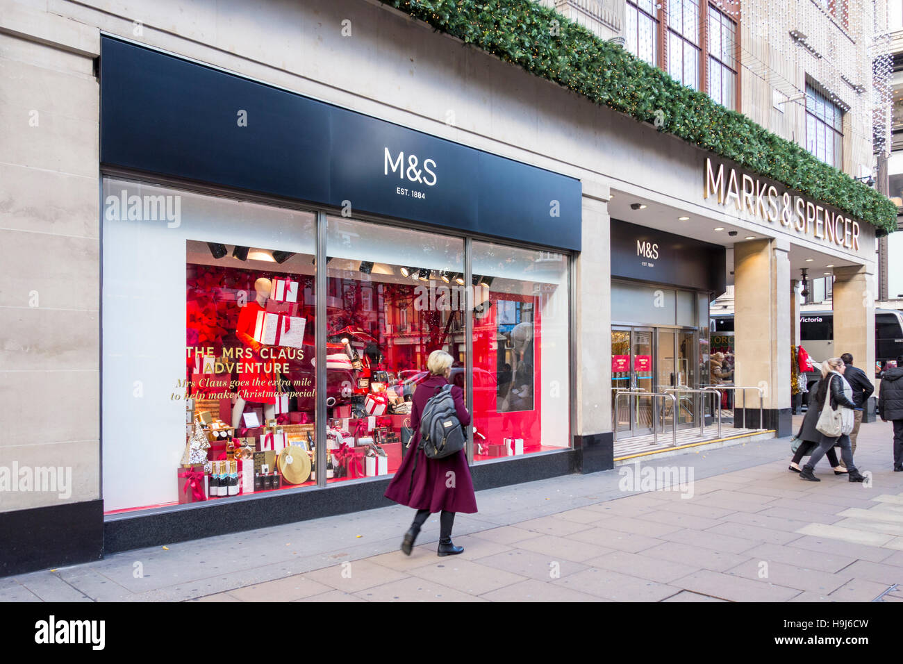M&S Christmas Windows on Oxford Street, London, UK - Stock Image
