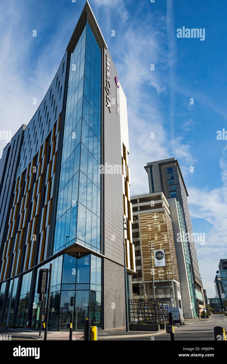 The 'Tomorrow' office and hotel development (Arch: Chapman Taylor 2016), MediaCityUK, Salford Quays, Manchester, - Stock Image