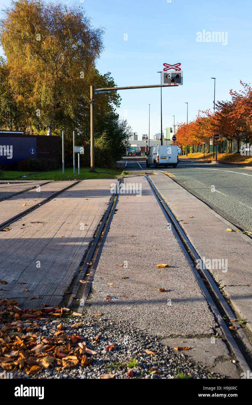 Remnants of the former extensive rail network in the Trafford Park Industrial Estate, Manchester, England, UK - Stock Image